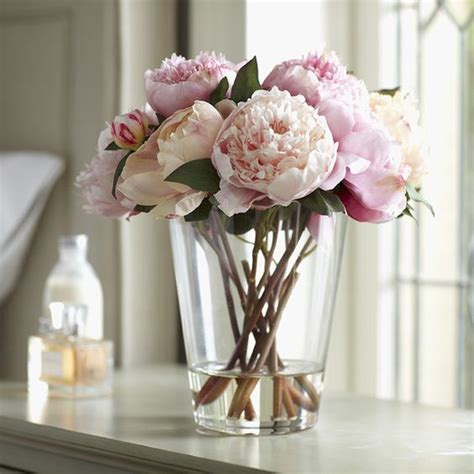 How To Arrange Peonies In A Vase by Faux Pink Peony Arrangement Large Lush With Petals