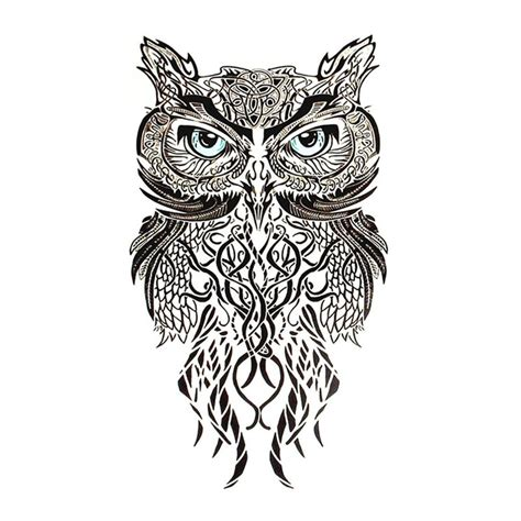 celtic style owl large temporary tattoo ebay