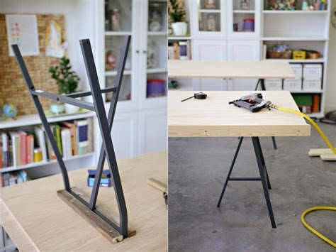 Diy Table With Plywood Top And Ikea Lerberg Trestle Legs Diy Trestle Desk
