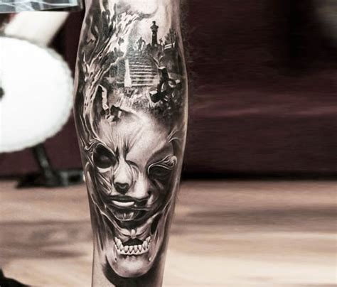 cemetery face tattoo by led coult no 1795