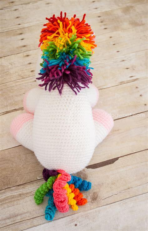 rainbow cuddles crochet unicorn pattern one dog woof