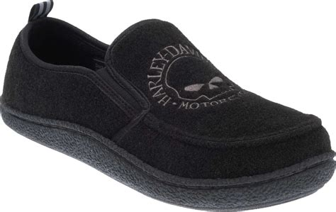 harley davidson house shoes harley davidson men s caleb black fleece lined house slippers d93395
