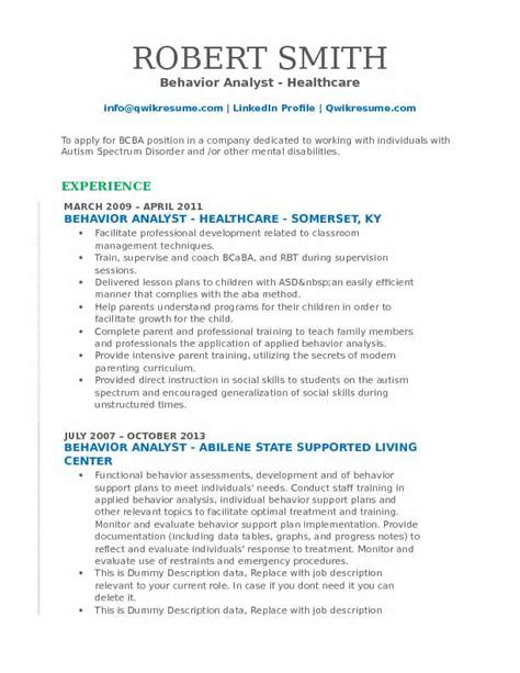 Behavior Analyst Sle Resume Behavior Analyst Resume Sles Qwikresume