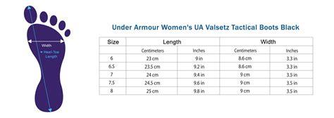 shoe size chart under armour under armour women s ua valsetz tactical boots black size