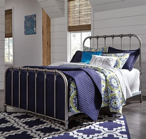 ashley furniture metal beds ashley signature design nashburg queen metal bed in aged