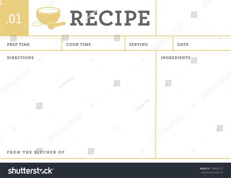 recipe note card template recipe card kitchen note template stock vector 139902172