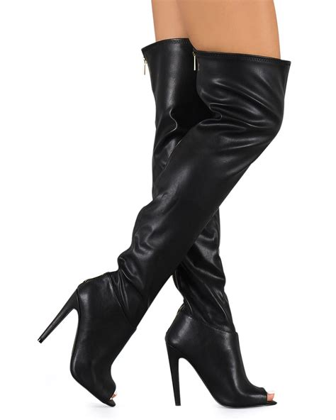 new qupid interest 118 leatherette peep toe thigh