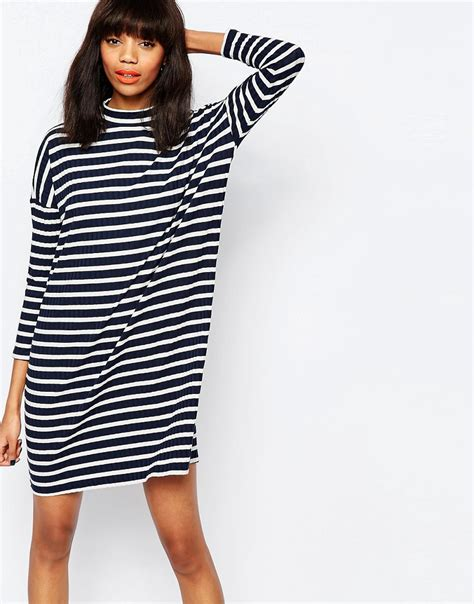 Striped Oversized Dress Size Mlxl 1 monki monki stripe oversized t shirt dress at asos