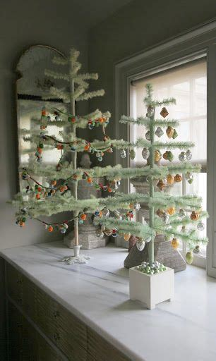 pale green feather trees in the servery martha stewart