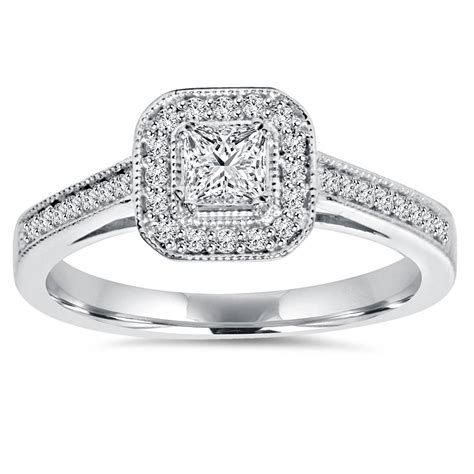 5/8ct Princess Cut Diamond Halo Engagement Ring 14k White