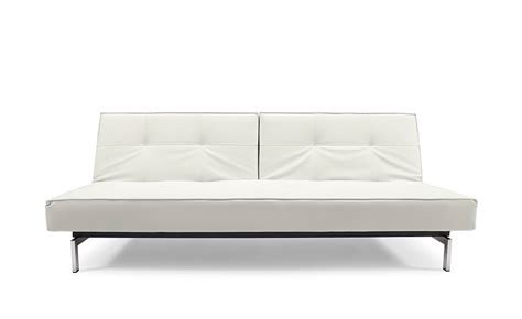 White Leather Futon Sofa Bed Splitback Sofa Bed White Leather Textile By Innovation