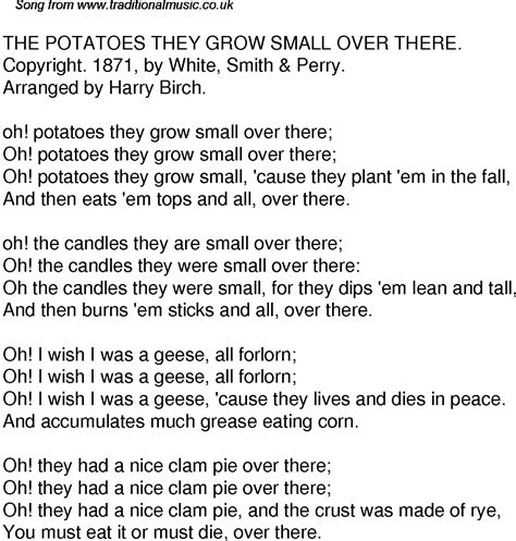 Potato Lyrics by Time Song Lyrics For 36 The Potatoes They Grow Small There