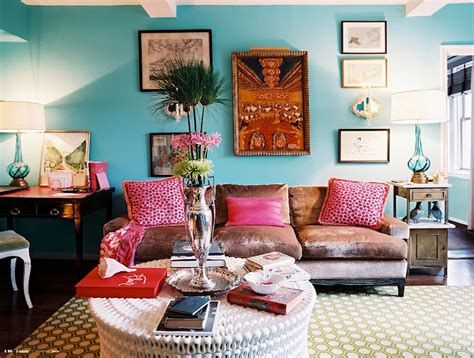 aqua living room turquoise paint color eclectic living room benjamin dolphins cove lonny magazine