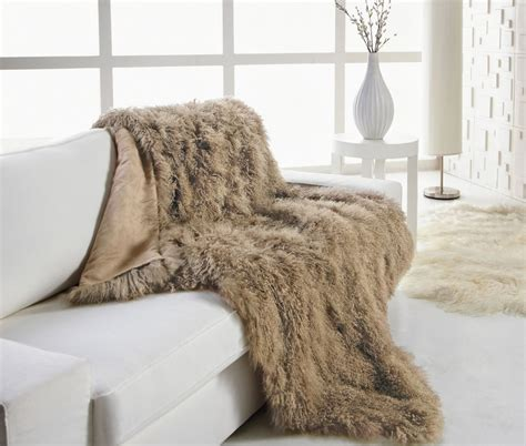 couch throws blankets tibetan lambskin throw blanket luxurious curly fur 4