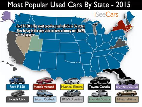most popular car brand by state map the most popular used car in each state
