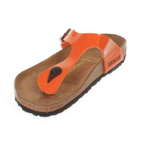 orange sandals shoes womens birkenstock gizeh orange lack leather footbed