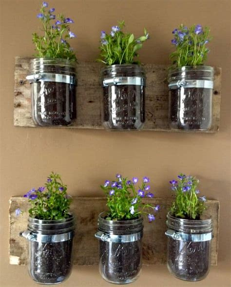 Diy Mason Jar Herb Garden And Herb Ideas The Whoot Jar Herb Garden Wall