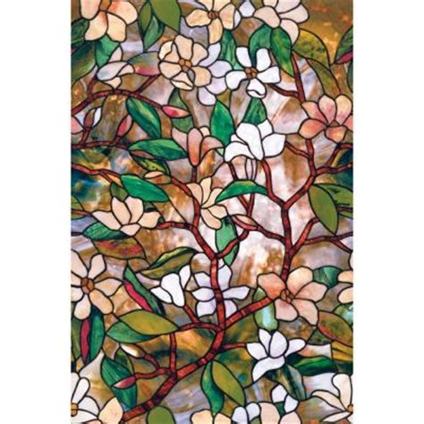 decorative window film home depot artscape 24 in x 36 in magnolia decorative window film