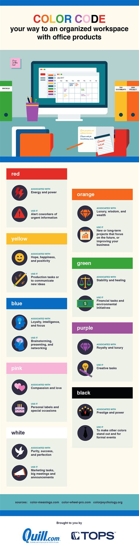 color code your way to an organized workspace with office products infographic visualistan