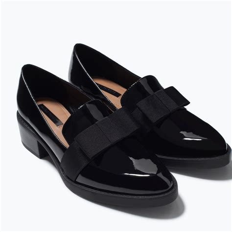 zara slippers uk zara moccasin with bow moccasin with bow in black lyst