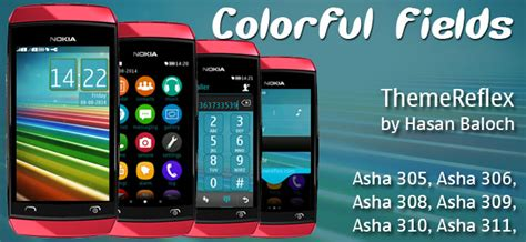 themes for nokia 311 full touch colorful fields theme for nokia asha 305 asha 306 asha