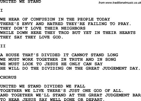 country music lyrics i will stand by you country southern and bluegrass gospel song united we
