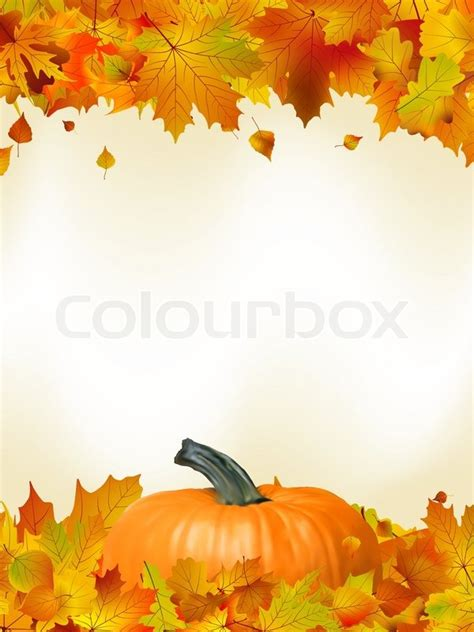 Fall Card Template by Colorful Autumn Card Template Leaves With Pumpkin And Copy