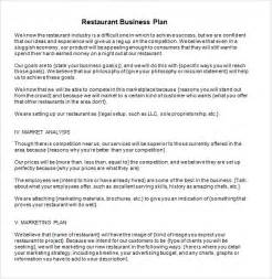 business plan template for restaurant restaurant business plan template 6 free