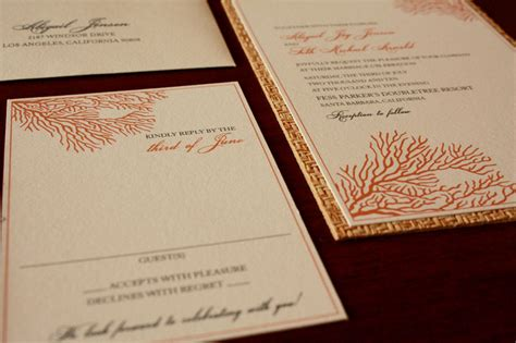 coral wedding invitations deco sea coral wedding invitations