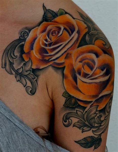 orange rose tattoos junkies studio tattoos flower