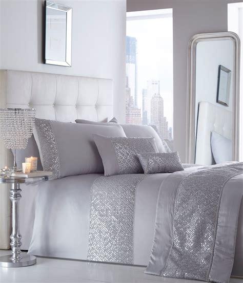 silver bed linen sets luxury sequin diamante duvet quilt cover bedding linen set