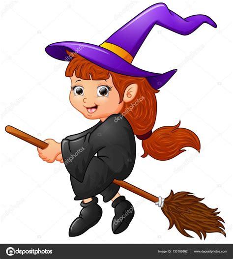 imagenes halloween brujitas con nombre bruja de dibujos animados volando vector de stock