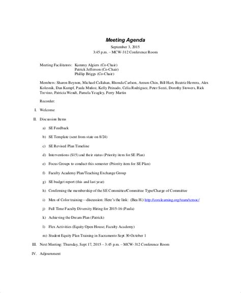 meeting agenda exles templates formal meeting agenda template 7 free word pdf