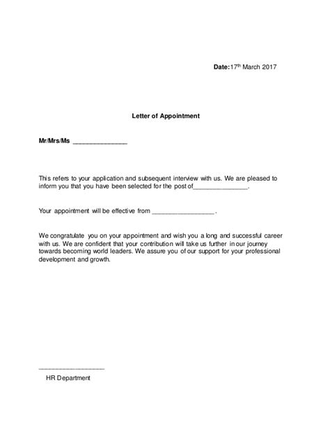 appointment letter usage format of appointment letter