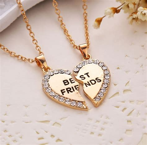 best friends bff rhinestone charm golden 2 in 1