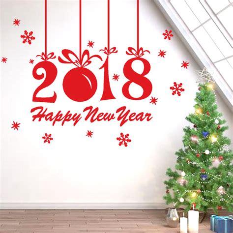 Stiker Natal Sticker 2 2018 happy new year plane wall sticker home shop