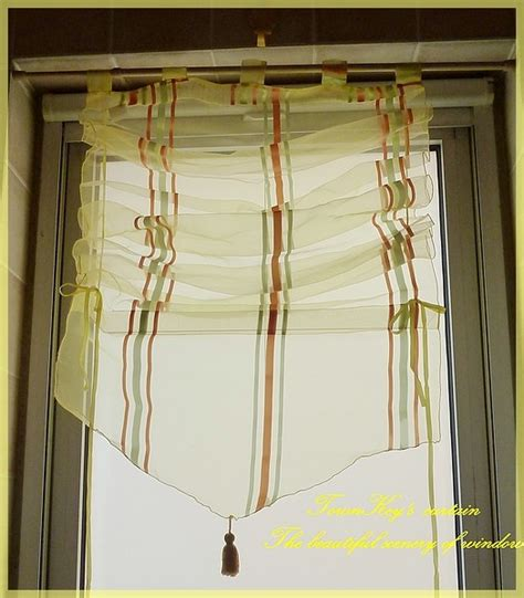 pull up drapes stripes sheer pull up curtain bath kitchen 60x160cm c ebay