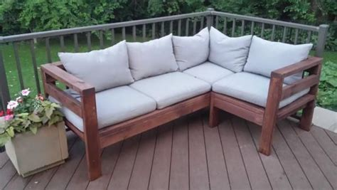 diy patio sofa amazing outdoor sectional diy 2x4 stained wood simple nice
