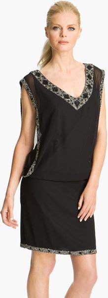 j kara beaded drop waist dress j kara beaded trim chiffon blouson dress in black lyst
