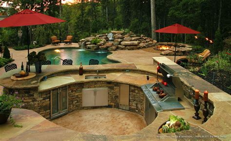 Outdoor Kitchens Backyard Designs With Pool And Outdoor Kitchen