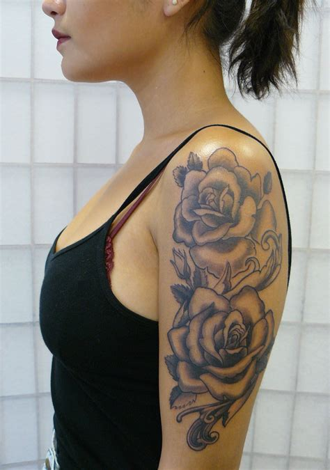 girl rose tattoo girly half sleeve tattoos black www pixshark