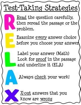 reading comprehension test taking strategies relax test taking strategies students school and anchor