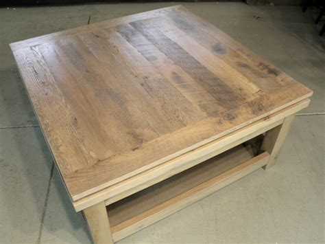 large square reclaimed wood coffee table lake and