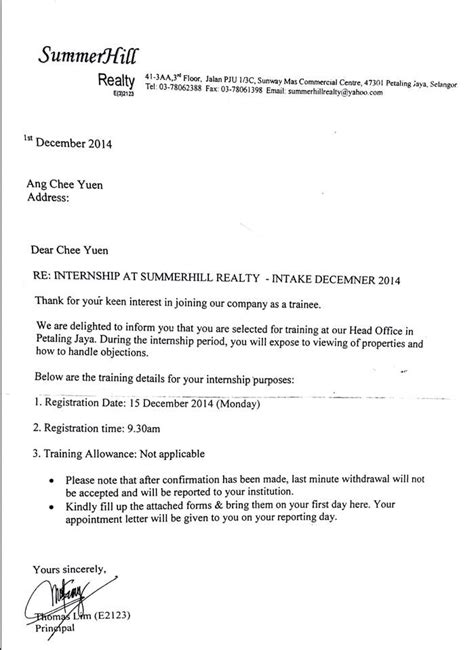 appointment letter thank you appointment letter actual scan copy as attached below