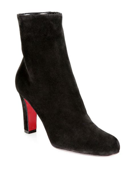 christian louboutin miss tack suede ankle boots in black