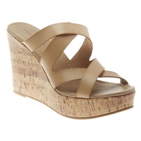 S 12w Sandals by Bryant Cork Wedge Slide Sandal S Size 12w Beige 55 Liked On Polyvore Featuring