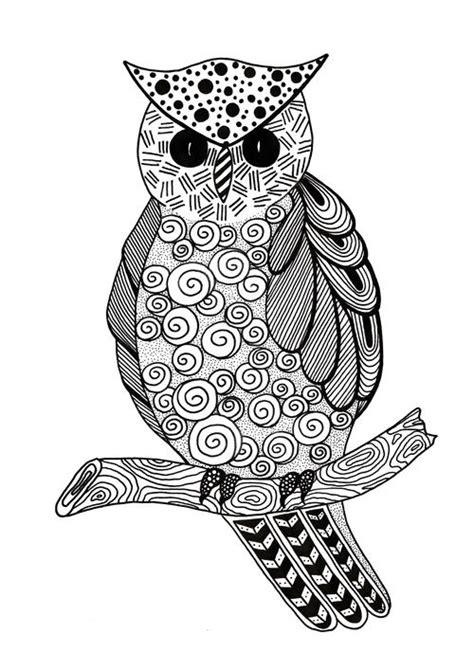 Zentangle Owl Adult Coloring Page | FaveCrafts.com