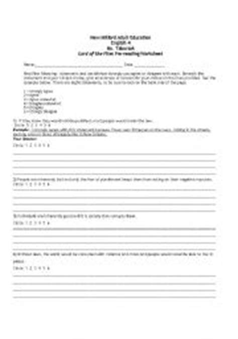 themes from lord of the flies worksheet answers english worksheets lord of the flies pre reading worksheet