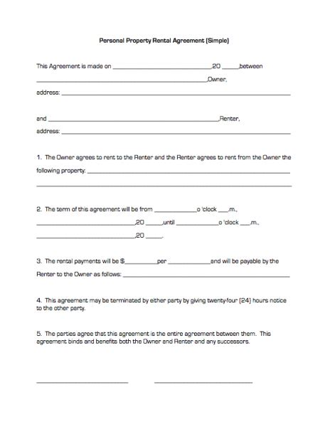 asset lease agreement template property house rental agreement form free property