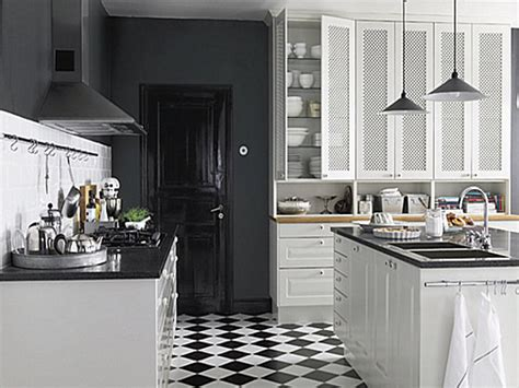 Kitchen With Black And White Cabinets Black And White Kitchen Floor Modern Bistro Kitchen Black And White Tile Floor Modern Grey